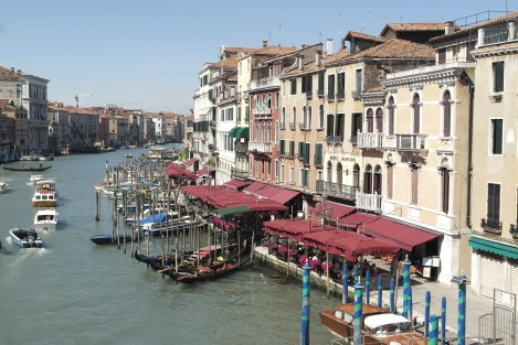 The Grand Canal Teaming with Life from the Rialto Bridge