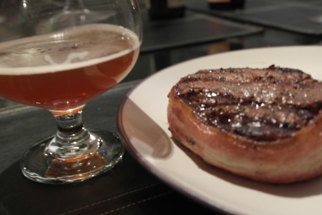 Bacon Wrapped Blue Cheese Stuffed Filet Paired with the Winner - A Belgian Quad